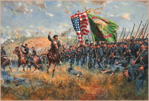 """Future President of Notre Dame, Father Corby, rides along the line of the Irish Brigade giving absolution under fire. """"Sons of Erin"""" by artist Don Troiani."""