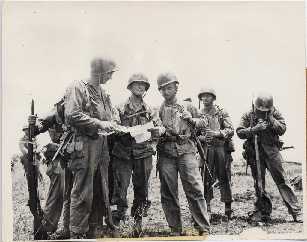 Col. Willian J. O'Brien, second from left, with his men on Saipan